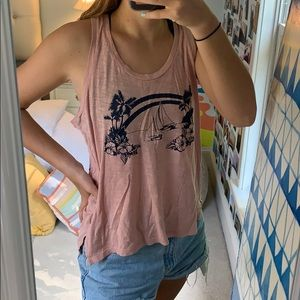 Pink tank top with adorable island design on front
